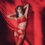 Красное нижнее бельё для женщин с чулками